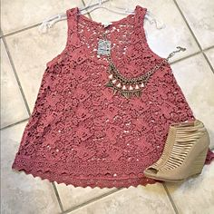 NWT Urban Outfitters dusty rose crochet swing tank Gorgeous color! Very flattering swing cut made entirely of crocheted lace with a scalloped hemline-  Urban Outfitters Tops Tank Tops