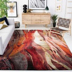 SAFAVIEH Glacier Bree Modern Abstract Rug - On Sale - Overstock - 11724988 - 9' x 9' Square - Red/Multi Living Room Bedroom, Dorm Room, Pacific Homes, Contemporary Style, Modern, Silk Flower Arrangements, Orange Area Rug, Online Home Decor Stores, Area Rugs