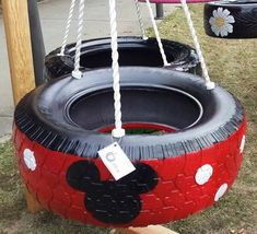 3-legged Mickey Mouse Tire Swing - Make Your Little Mouseketeer Squeal With…