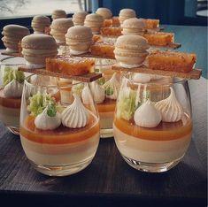 Dessert Service Cocktail Miniatures – Famous Last Words Desserts In A Glass, Gourmet Desserts, Fancy Desserts, Delicious Desserts, Dessert Recipes, Yummy Food, Plated Desserts, Gourmet Foods, Dessert Food