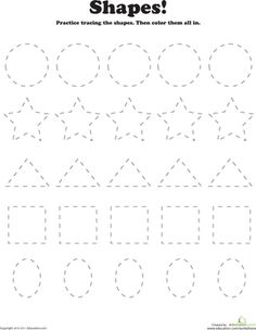 Here's a worksheet that's packed full of fun fine motor skills practice. Kids trace a variety of shapes, then brighten them up with some color.