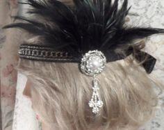 GATSBY HEADPIECE FLAPPER headband Flapper headpiece Gatsby headband 1920's headband pearl rhinestone headband silver headband