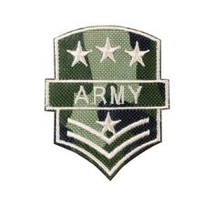 USA Army Patch Embroidered Three Stars Military Badge Iron On Sew On Patches