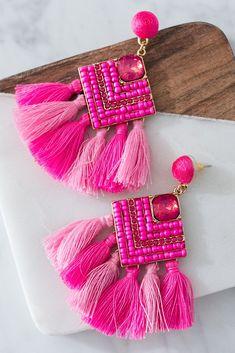 Earrings In Style On Cabo Time Tassel Earrings In Hot Pink - Pink Jewelry, Tassel Jewelry, Fabric Jewelry, Bridal Jewelry, Jewelery, Bohemian Jewelry, Jewelry Box, Rose Fuchsia, Pink Earrings