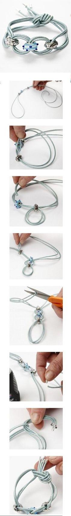 原创地址:http://www.cchobby.com/idea/11711-fashion-jewellery-with-fashion-links-on-a-leather-cord.aspx 70CM(测量你的手腕,双击它,并添加20厘米)。. 双击线和螺纹的魅力在皮革上线。