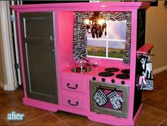 How creative is this?! Using an old entertainment center - she sells them for $200 crafts
