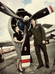 Dad and I in our travels used to visit all kinds of airplane graveyards and museums.  my fiance and I like to do that too, and with a mutual interest in WWII generation, it would be great to incorporate this as the engagement photo session because it would lead into the happy travel age post-WWII on Route 66.