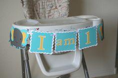 Elephant 1st  Birthday Highchair Banner, Party Sign, HAPPY BIRTHDAY, Birthday Decoration. $12.00, via Etsy.