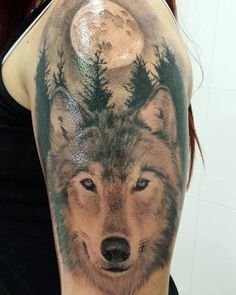 realistic wolf head tattoo tribal - Google Search
