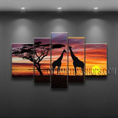 Stunning Modern Abstract Painting Artist Oil Painting Stretched Ready To Hang Tree. This 5 panels canvas wall art is hand painted by Flora.Z, instock - $165. To see more, visit OilPaintingShops.com