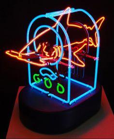 Shark Radio Neon Sculpture by Michael Fletcher
