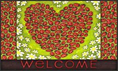 Toland Home Garden Ladybug Heart 18 x 30Inch Decorative USAProduced Standard IndoorOutdoor Designer Mat 800003 ** You can find more details by visiting the image link. This Amazon pins is an affiliate link to Amazon.
