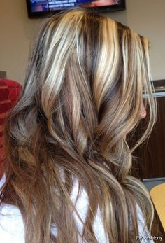 Brown Hair with Highlights and Lowlights | Chunky blond highlights with dark and caramel low lights.