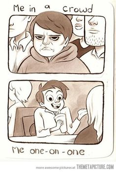 Pretty much. I turn into grumpy cat when around large groups of people.
