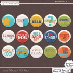 I Love School - Flair Pack :: Gotta Pixel Digital Scrapbook Store from Designs by Connie Prince