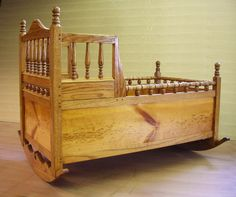 Handmade Pilgrim Baby Cradle with Turned Ornaments on Etsy, $1,200.00