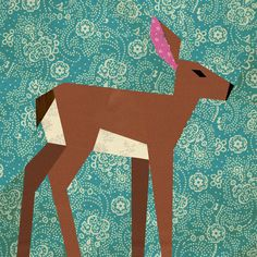 Deer paper pieced quilt block pattern PDF. Perfect for 1 of 5 blocks for a quilt for Cody.