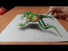 Trick art on paper. How to draw frog. Drawing a jumping frog. How to draw a realistic frog. Drawing an anamorphic illusion on paper. Drawing frog step by . Easy 3d Drawing, 3d Drawing Tutorial, Easy Drawings, Painting & Drawing, Drawing Lessons, Drawing Techniques, Drawing Tips, 3d Pencil Drawings, Pencil Art
