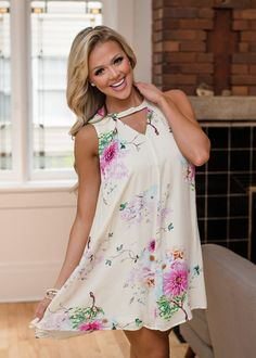 Boutique, Online Boutique, Women's Boutique, Modern Vintage Boutique, Dress, White Dress, Floral Dress, Short Dress, Tank Dress, Cute, Fashion