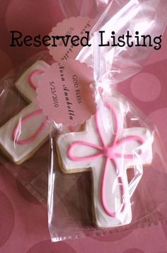 This listing is a reserved listing for Alison for 72 cookies .    Each cookie will be individually wrapped in a clear cellophane bag and tied with