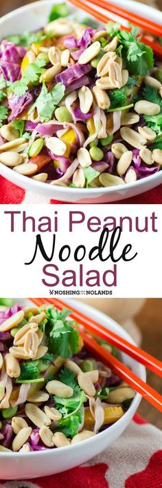 Thai Peanut Noodle Salad by Noshing With The Nolands, is a cooling summer salad that everyone will love!! It can also be made gluten free and is vegan.