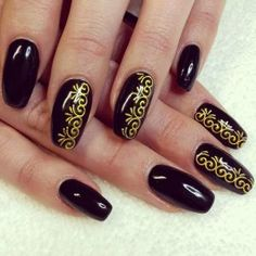 Black And Gold Floral Nail Art