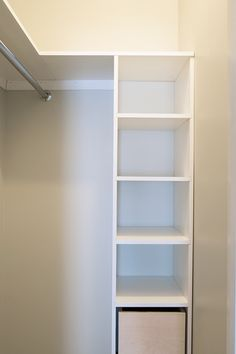 Building a custom closet and DIY door organizer building-a-custom-closet-shelf Building a custom clo Diy Closet Shelves, Closet Storage, Closet Organization, Building Shelves In Closet, Wardrobe Storage, Wardrobe Closet, Organizing, Ikea Closet, Attic Storage