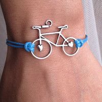 Ocean Blue Cord with Silver  Retro Bicycle charm wish bracelet  with bike parts and cords? could make friendship bracelets ?? idk how to do it but i understand it's easy? idk