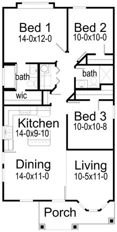 7c3453059039419d39b35ca5d93d248a tiny house floor plans bedroom small house plans under sq ft bedroom floor plan for a small house 1,150 sf with 3 bedrooms and 2 baths,Plan Of Three Bedroom House