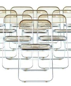 Giancarlo Piretti; Acrylic and Chromed Metal 'Plia' Folding Chairs for Castelli, 1970s.