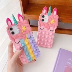 Cute Cases, Cute Phone Cases, Toy Iphone, Kids Notes, Silicone Iphone Cases, Fidget Toys, Rainbow Colors, Boy Or Girl, Fashion Handbags