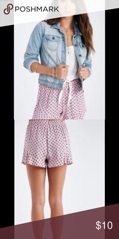 HEM SHORTS Adorable pink printed ruffled hem shorts. Brand new. Shorts
