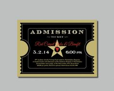 Printable   Red Carpet Gala   Hollywood   Oscars/Academy Awards Viewing  Party   Admission Ticket Invitation | Oscar Academy Awards, Oscar Academy  And ...