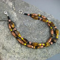 Mens Beaded Bracelet with Tiger Eye and Copper, Double Strand Beaded Bracelet, Native American Beaded Bracelet, Brown and Yellow Bracelet by Siroccos Trading Post, $28.00 USD