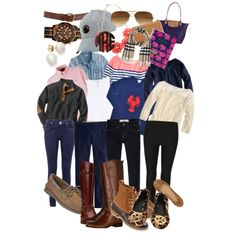 A jumble of some really cute, preppy back to school outfit ideas whether if your pairing Tory Burch flats or Bean Boots