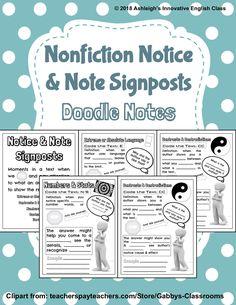 Nonfiction Notice & Note Signposts Doodle Notes