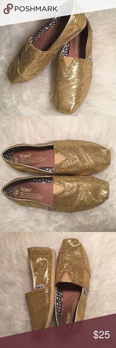 TOMS Gold Glitter Slip On Flat Shoes Good condition, some signs of wear. NO BOX TOMS Shoes Flats & Loafers