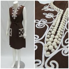 Vtg 60s 70s Chocolate with Cream Studded Shift Dress by byHEXEREI, $108.00