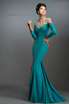 Cheap Evening Dresses, Buy Directly from China Suppliers:                   Elegant Green Boat Neck Long Sleeve Beaded Mermaid Janique Evening Prom Dress 2015