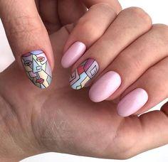 Nail Art Designs, Pretty Nail Designs, Pretty Nail Colors, Pretty Nails, Long Round Nails, Nail Manicure, Nail Polish, Picasso Nails, Geometric Nail