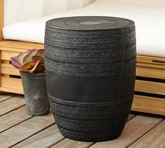 """No longer available - Metal Drum Accent Table- Pottery Barn.  15.75""""Diam x 19.75""""H.  $399 sale price."""
