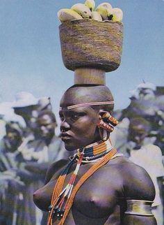 Native African Girl w Banana Basket Kenya 1960s
