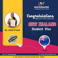 Congratulations to Maitri Parikh for successful New Zealand student visa approval in the last intake. We wish that you continue advancing at each stage in the future.  #Nationwide #NewZealand #StudentVisa #StudentFeedback Study In New Zealand, Feedback For Students, Overseas Education, Dreaming Of You, Wish, Congratulations, Success, Stage, Motivation