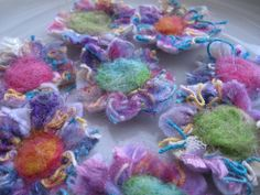 Needle felted confetti flowers
