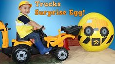 Construction Trucks for Kids: Beach Playtime - Digging a canal! Toy Excavators Bulldozer Cute Dog - YouTube