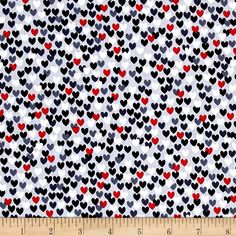 Scottie Love Love Me Hearts Gray from @fabricdotcom  Designed by Maria Kalinowski for Kanvas in association with Benartex, this cotton print fabric will make your heart swell! Perfect for quilting, apparel and home decor accents. Colors include white, black, red and shades of grey.