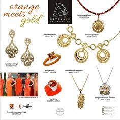 CRYSTALP Orange Meets Gold Flower Pendant, Precious Metals, Washer Necklace, Swarovski, Fashion Jewelry, Jewellery, Orange, Crystals, Earrings