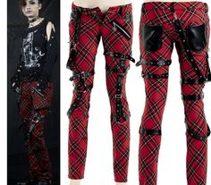 Punk Visual Kei Black Stub Slim Zip Up K124 Red Checker Pants s 2XL Free SHIP | eBay
