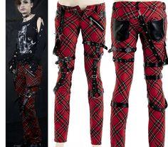Punk Visual Kei Black Stub Slim Zip Up K124 Red Checker Pants s 2XL Free SHIP | eBay