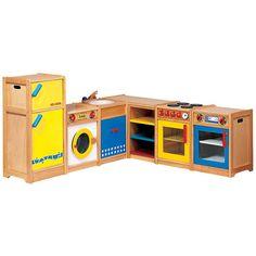 Speelkeuken kleur (6 delig)  Mooi afgewerkte 6-delige speelkeuken gemaakt van rubberwood. De deuren van de koelkast, het aanrechtblok en de wasmachine zijn uitgevoerd in MDF. Deze degelijke uitvoering maakt deze keuken bij uitstek geschikt voor de kinderopvang en voor scholen! Alle deuren zijn uitgevoerd met metalen scharnieren.   Alle keukendelen zijn ook los verkrijgbaar: - Aanrechtblok - Fornuis - Wasmachine  - Koelkast  - Afwasmachine  - Hoekkast